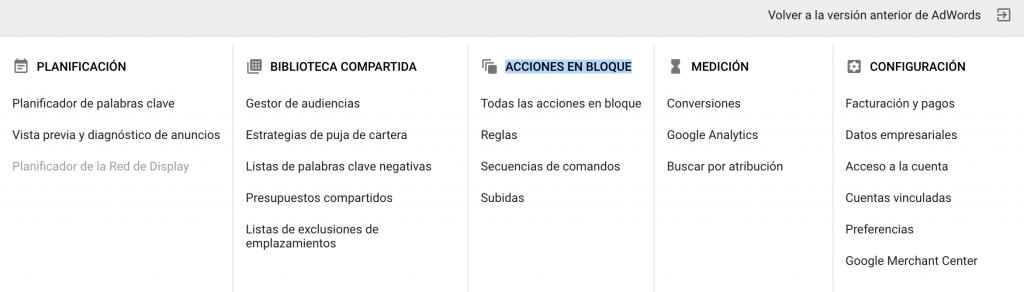 menu adwords acciones en bloque pujas automaticas
