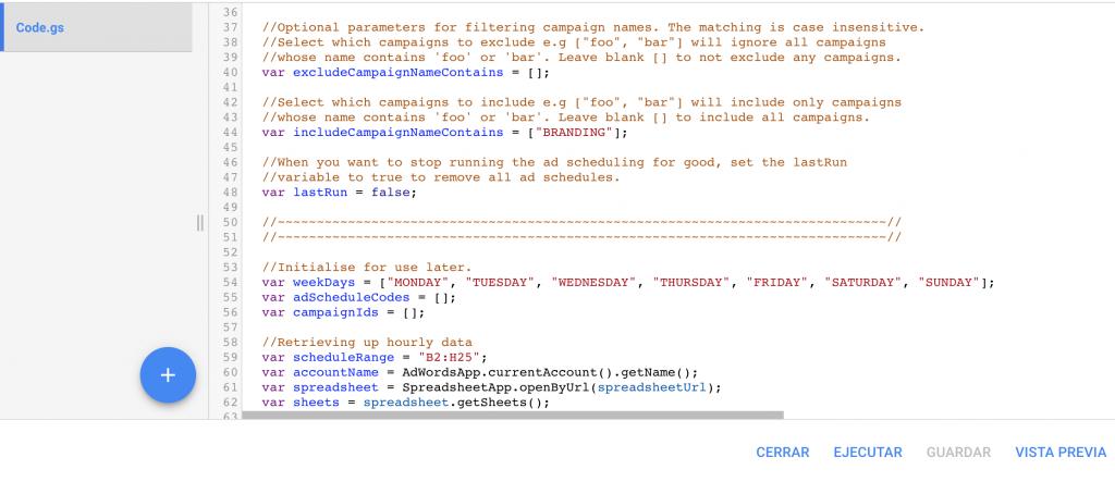 script adwords secuencia comandos