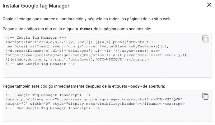 Configurar Google Tag Manager en WordPress - Paso 2